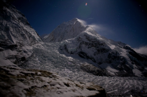 Nuptse Ice Fall In Moonlight by Anjin Herndon