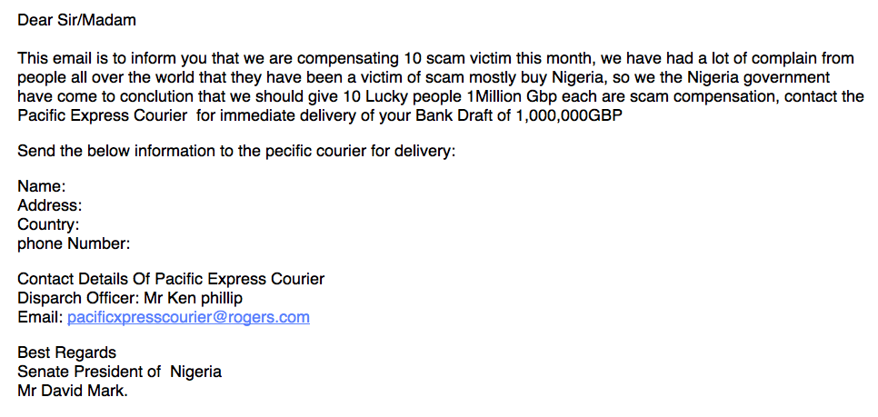 Awesomely stupid phishing attempt